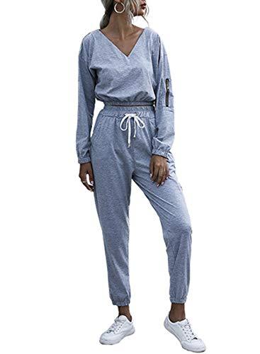 CORAFRITZ Conjunto de 2 piezas casual deportivo con cuello en V de manga larga recortada en la pierna recta con bolsillo en el tobillo pantalones de color sólido para mujer