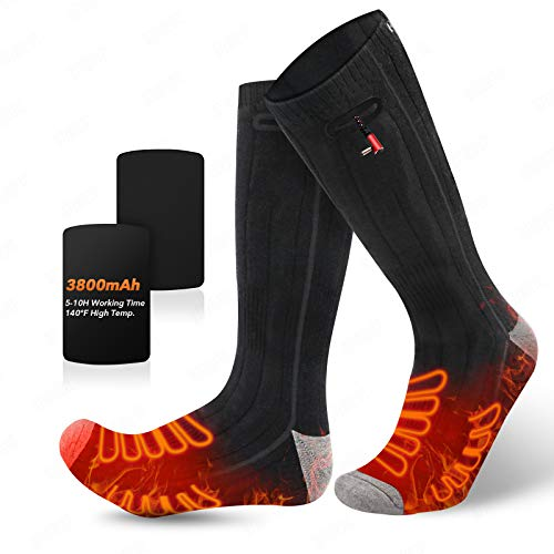 JINHODY 2020 Upgrade Heated Socks, Rechargeable Electric Heated Thermal Warming Socks for Men Women, 3 Heating Settings Foot Warmer Socks, 2 x 3800mAh Battery Operated, for Hunting Skiing Cold Feet