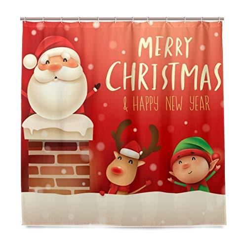 WINTERSUNNY Duschvorhang mit Weihnachtsmann-Motiv, Elfe auf Kamin, hochwertiger Stoff, Badvorhänge, Badezimmer-Zubehör, Dekor, traumhafte Weihnachtsmann-Gardinen mit 12 Haken, 180 x 180 cm
