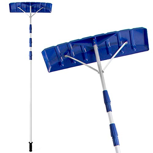 """Ohuhu 21 FT Adjustable Telescoping Snow Roof Rake, Twist-N-Lock Snow Rake for Roof with 6"""" X 25"""" Poly Blade, Snow Shovel for Cleaning Roof Snow, Blue"""