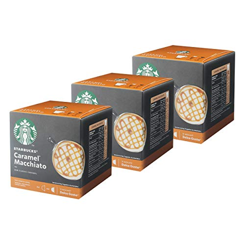Nescafé Dolce Gusto Starbucks Caramel Macchiato 3er Set, Latte Macchiato mit Karamell, Kaffeekapsel, Röstkaffee, 3 x 12 Kapseln