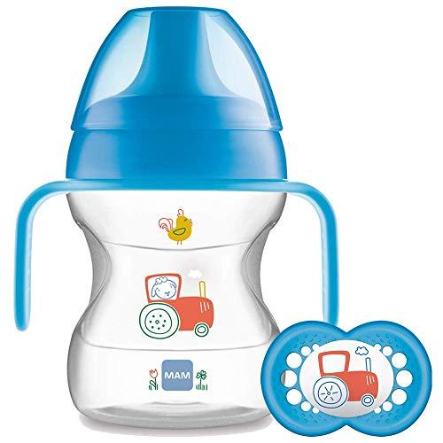 """MAM Trinkbecher """"Learn To Drink"""", für Babys, mit Schnuller, ab 6Monaten, 190ml, Blau"""
