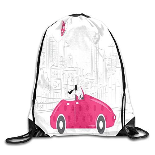 fdgjydjsh Bundle Backpack Pink Vintage Car Butterfly Gym Large Capacity Shoulder Drawstring Bags