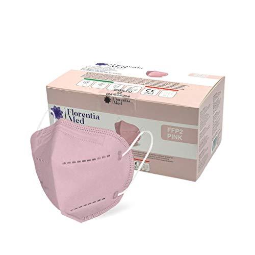 Florentia Med Máscaras FFP2 ROSAS MADE IN ITALY Certificación CE Categoría EPI: III, conforme a EN 149: 2001 + A1: 2009. Caja de 20 piezas Empaquetada y sellada individualmente