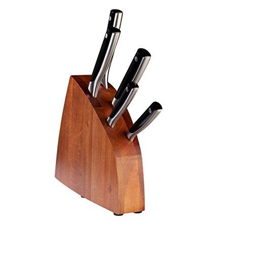 PW Paul Wirths SOLID Messerblock bestückt, inklusive 5-teiliges Messerset, Brotmesser, Kochmesser, Schinkenmesser, Allzweckmesser & Spickmesser, Edelstahl rostfrei, silber/schwarz