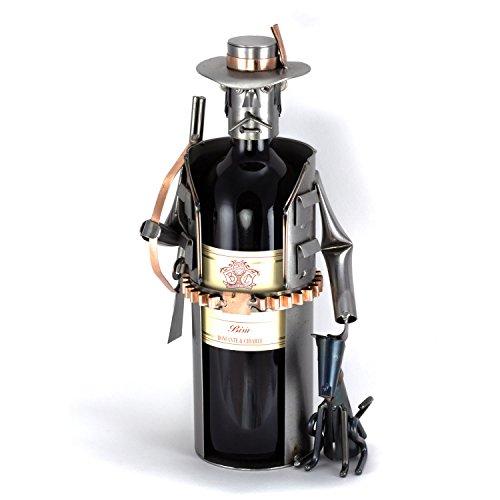 Steelman24 I Omini di Viti Poggiabottiglia di Vino Cacciatore I Idee Regalo Originale I Soprammobili in Metallo I Modellino