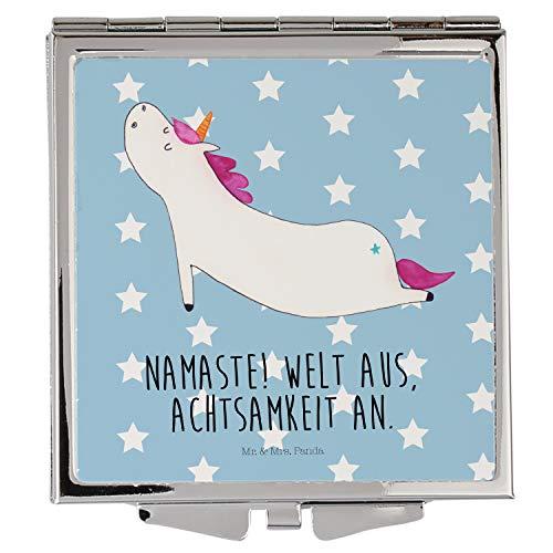 Mr. & Mrs. Panda Handtasche, Quadrat, Handtaschenspiegel quadratisch Einhorn Yoga mit Spruch - Farbe Blau Pastell
