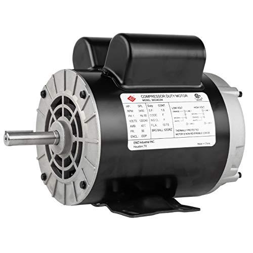 """2 HP SPL 3450 RPM, 56 Frame, 120/240V, 15/7.5Amp 5/8"""" Shaft, Single Phase NEMA Air Compressor Motor - EM-02"""