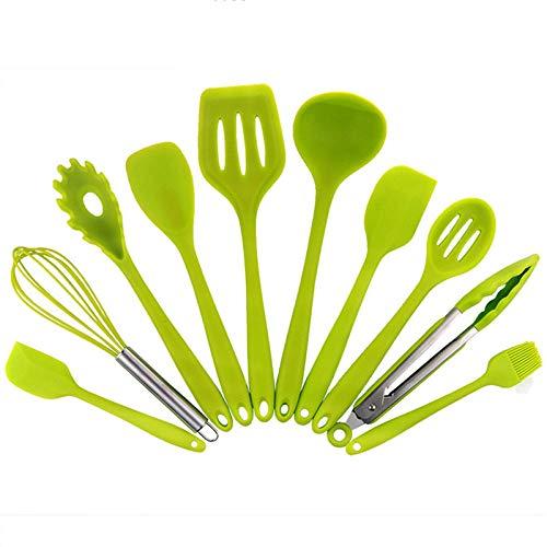 Utensilios Cocina Silicona,Utensilios de Cocina antiadherentes de Silicona, Utensilios de Cocina, Juego de Utensilios de Cocina, espátula de Cocina, Cuchara, Cuchara, sopa-10 Piezas Verde