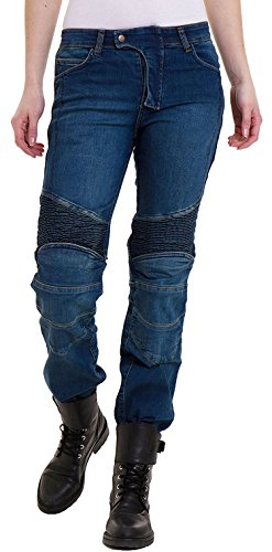 Qaswa Damen Motorradhose Jeans Motorrad Hose Motorradrüstung Schutzauskleidung Motorcycle Biker Pants, W36-L31, Blue