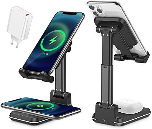 Supporto Tablet Caricatore Wireless, Stazione di Ricarica Rapida Qi 10W Stand Dock Compatibile con iPhone SE 2020/11 X/XS/XR/Xs Max/8 Plus,AirPods
