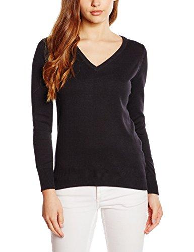 Premier Workwear Damen Ladies V-Neck Knitted Sweater Sweatshirt, Schwarz (Black), 46 (Herstellergröße: 18)