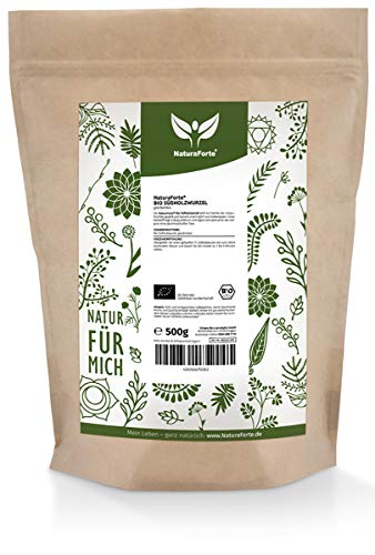 NaturaForte Bio Süßholzwurzel-Tee geschnitten 500g - 100% Bio-Qualität, Süßholz-Wurzel für Tee schonend getrocknet in Aroma Beutel Verpackung, licorice root, Abgefüllt in Deutschland (DE-ÖKO-003)