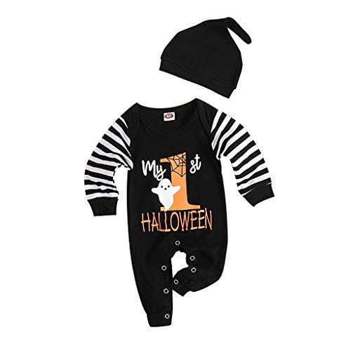 BaZhaHei Halloween Baby Kostüm Jungen Mädchen Karneval Fasching Kostüme Strampler Jumpsuit-Outfits mit Streifenmuster Overall-Kleidung with Hut (80, Schwarz)