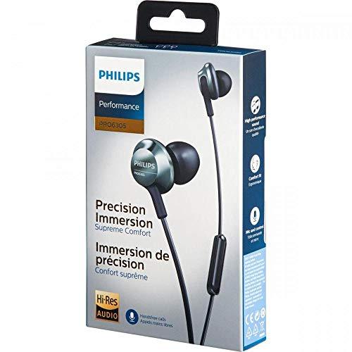 Philips Audio In Ear Kopfh?rer PRO6305BK/00 Kopfh?rer In Ear (Hi Res-Audio, Integriertes Mikrofon, Ger?uschunterdrckung, 3 Ohrkappentypen, Ergonomisches Design) Schwarz/Silber, One Size