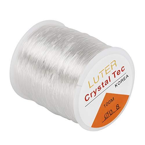 LUTER 0.8mm Filo/Lenza di Trasparente Elastico per Braccialetti Gioielli Collana Perline(328ft)