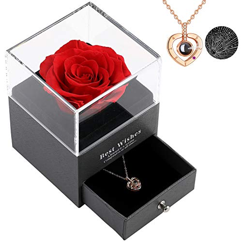 Real Preserved Rose with Love You Necklace 100 Languages Jewelry Gift Box...