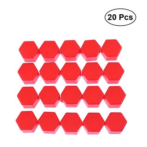 VORCOOL 20 stücke Radmuttern Abdeckungen Schrauben Abdeckungen Schraube Schützen Kappen 17mm (Rot)