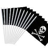 Anley Jolly Roger 5x8 Zoll Handgehaltene Mini-Flagge mit 12' weißem, durchgeHändem Stab - Piraten-Stickflagge, lebhafte Farbe und Ausbleichfestigkeit - 5 x 8 Zoll Handgehaltene Stickfahnen