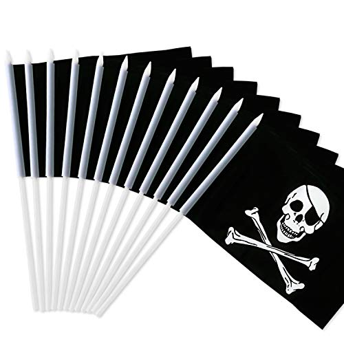 """Anley Pirate Stick Flag, Jolly Roger 5x8 inch Handheld Mini Flag with 12"""" White Solid Pole - Vivid Color and Fade Resistant - 5 x 8 inch Hand Held Stick Flags with Spear Top (1 Dozen)"""