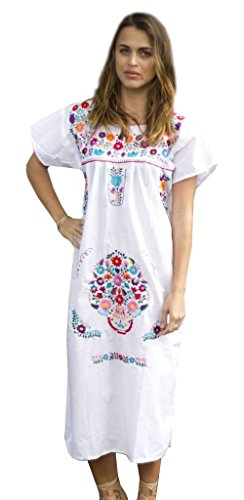 Liliana Cruz Embroidered Mexican Peasant Dress (White Size Large)