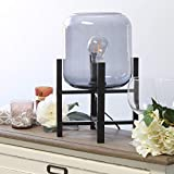 Simple Designs LT1068-SMK Wood Mounted Glass Cylinder Shade Table Lamp, Black/Smoke