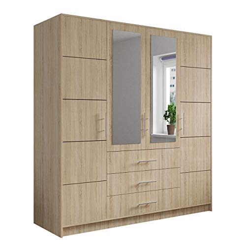 Mirjan24 Drehtürenschrank Bado 4D, Kleiderschrank mit Spiegel, Schubladen und Spiegeltüren, Elegantes Schlafzimmer Schrank, Jugendzimmer (Eiche Sonoma/Spiegel)