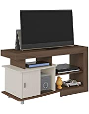 Artely Royal TV Table for 47 inch TV, Walnut Brown with Off White , W 122 cm x D 48 cm x H 65 cm