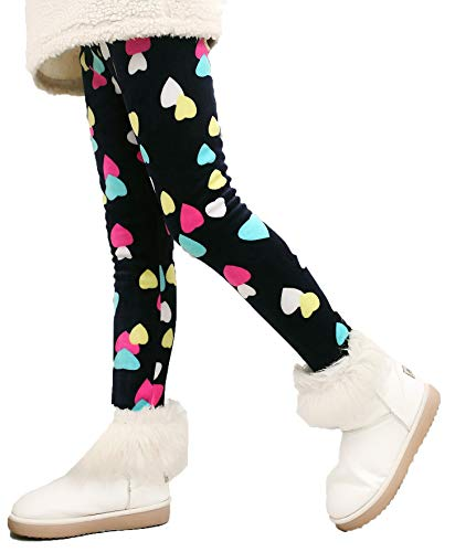 Girl's Thicken Tights Winter Thermal Fleece Lined Leggings Little Kids Stretchy Printed Pants