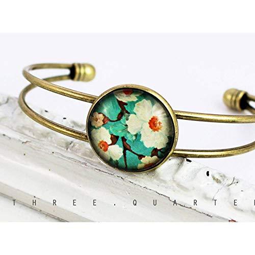 Armreif, Blumen, türkis, weiß, Blüten, antik bronze, vintage, nostalgisch