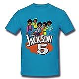 ZYYM Jackson 5 Men's Cotton Retro Graphic Basic Short Sleeve T-Shirt Spider Baby Blue Large