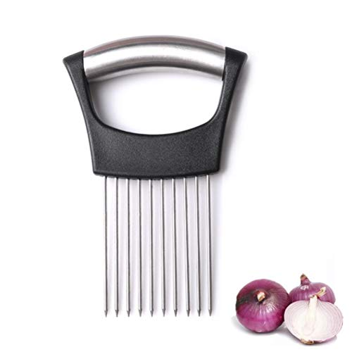 Stainless Steel Onion Holder Vegetables Fruit Beef Onion Slicer Meat Cutter Potatoes Fruit Slicer Peeler Chopper with 10 prongs