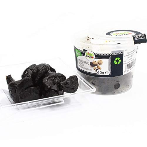 Cibocrudo Aglio Nero in Spicchi Crudo Bio - 60g - qualità premium, ricco di sali minerali, energizzante ed antiossidante, confezione di vetro ed etichetta in italiano