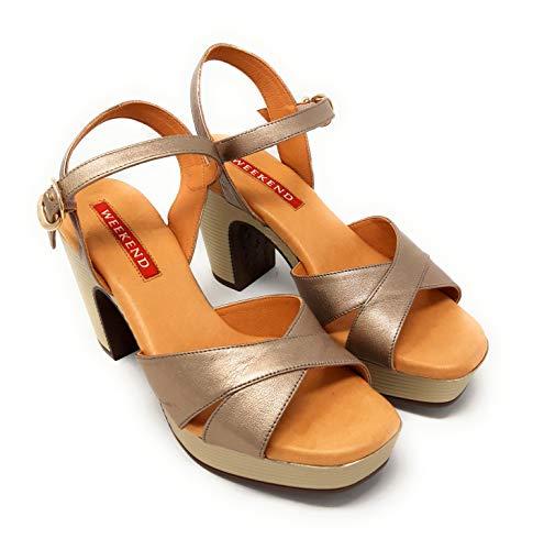 Weekend 12318 NAPA Metal Humo.Sandalias de tacón para Mujer de Piel Metalizada (Humo, Numeric_38)