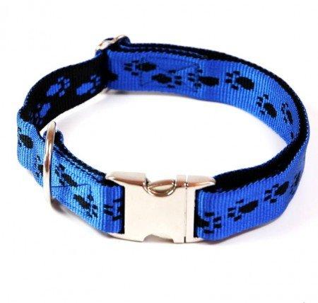 Hundehalsband, Alu-Max®, Soft Nylon, Blau, Schwarze Pfötchen, 55-90cm, 25mm, mit Zugentlastung
