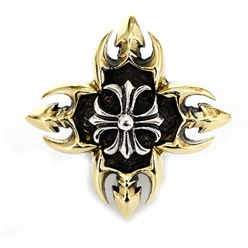 コンチョ シルバー925 ブラス ネジ式 パーツ ボタン カスタム 真鍮 アイアンクロス スター 十字架