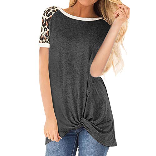 PRJN Womens Summer Short Sleeve T-Shirt O Neck T Shirt Women T Shirt Short Sleeve Blouse Crew Neck Leopard Print Tunic Casual Womens Short Sleeve T Shirt Loose Casual Blouses and Tops