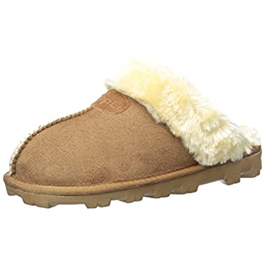 CLPP'LI Womens Slip On Faux Fur Warm Winter Mules Fluffy Suede Comfy Slippers-Tan-9