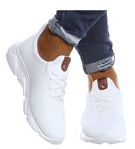 Leif Nelson Herren Schuhe für Freizeit Sport Freizeitschuhe Männer weiße Sneaker Sommer Coole Elegante Sommerschuhe Sportschuhe Weiße Schuhe für Jungen Winterschuhe Halbschuhe LN205 44 Weiss