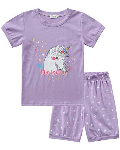 MOLYHUA Zweiteiliger Schlafanzug für Baby Mädchen Einhorn Sommer Kurz Ärmel T-Shirt Hosen Nachtwäsche Baumwolle 86 92 98 104 110 116