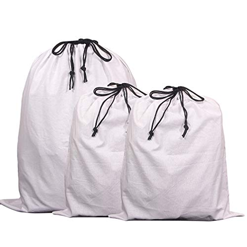 Set of 3 Jumbo Cotton Breathable Drawstring Dust Covers Large Cloth Storage Pouch String Bag for Handbags Purses Shoes