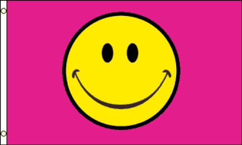 Happy Face (Pink) Flag 3x5ft Poly