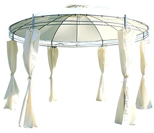 ASS Eleganter Gartenpavillon Pavillon 3,5 Meter Durchmesser rund mit Dach 100% wasserdicht UV30+ und 6 Vorhängen Marseille von