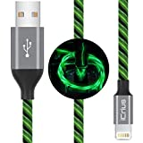 iCrius iPhone Charger Cable, [MFi Certified] 6ft LED Light Up Visible Flowing Lightning Charger Charging Cord Compatible with iPhone11 Plus/XS/XR/X /8 Plus / 8/7 Plus / 7, iPod Touch More-Green