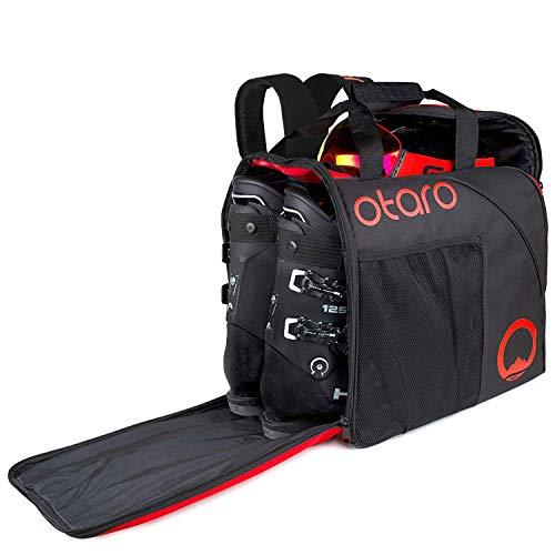 Otaro ® Skischuhtasche mit Helmfach inkl. Rucksackträgern + Junges Start-Up Unterstützen! + Geräumige Inlinertasche (55L) + Wasserfester Skisack für Skistiefel + Schlittschuhtasche