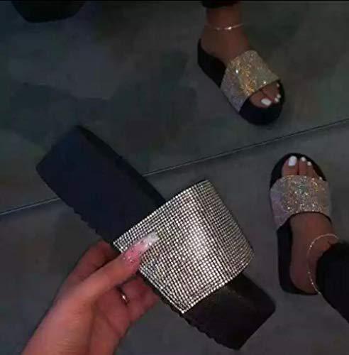 Ririhong Pantoufles d'été Femmes Strass compensées Plate-Forme Diapositives Sandales à Talons Grande Taille Bascule Femme 2021-34_Black