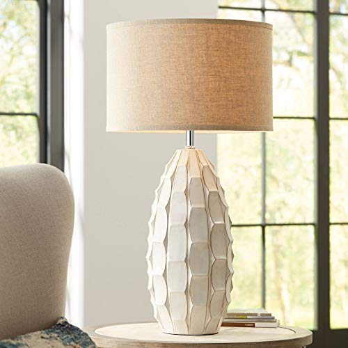 Cosgrove Oval White Ceramic Table Lamp with Table Top Dimmer - Possini Euro Design