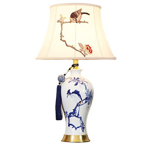 FU_YING Lámparas de mesa y mesilla de noche Lámpara de mesa de cerámica, (6515 Mand Estilo chino mandarín Perfecto para todas las salas de estar y dormitorios Lámpara de mesa de porcelana: excelente c