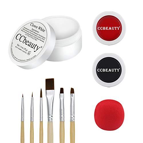 CCbeauty Face Paint Theaterschminke Weiß Schwarz Rot mit Clownsnase und Makeup Pinsel, Gesichtfarben Set für Kinderfeste Halloween Karneval Mottopartys Zombie Vampire Clowns