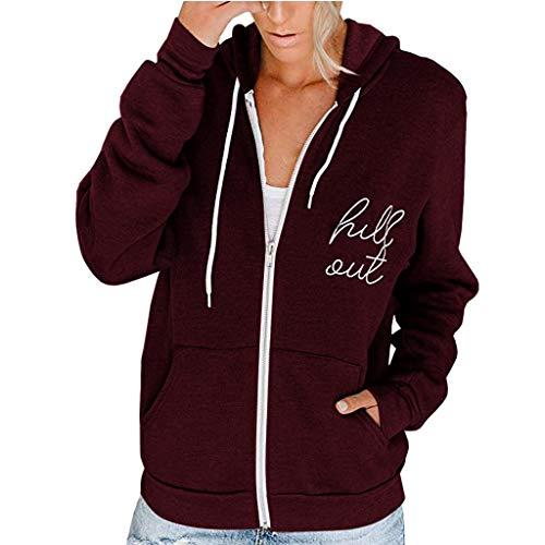 Ultramall Hoodies for Women with Zipper Long Sleeve Lightweight Sweatshirts Pockets Jacket Coat
